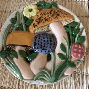 Vintage Ayners 1973 ceramic mushroom trivet